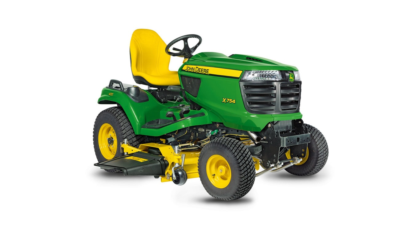 Three-quarter view of x754 lawn tractor