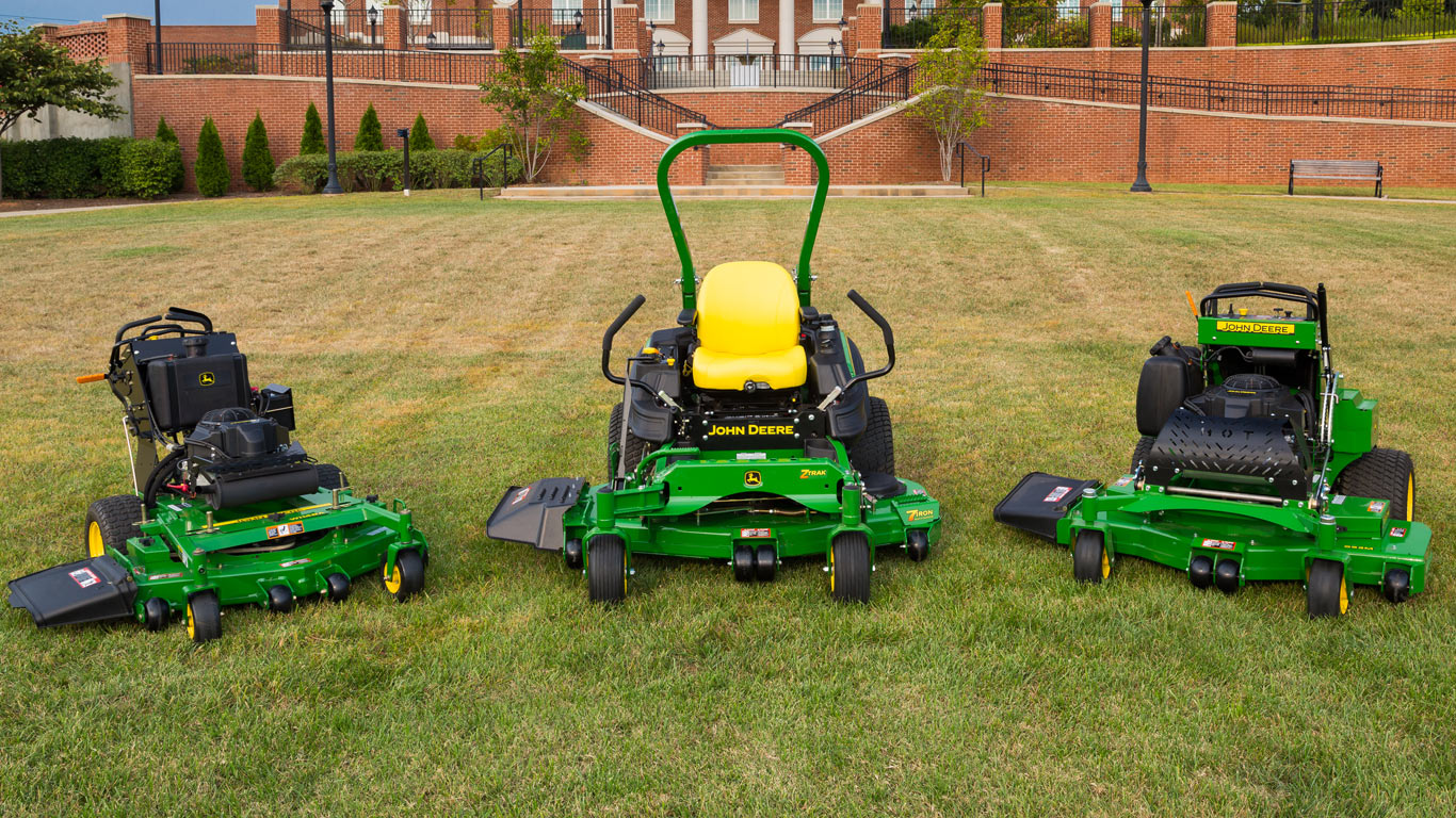 group shot of commercial mowers
