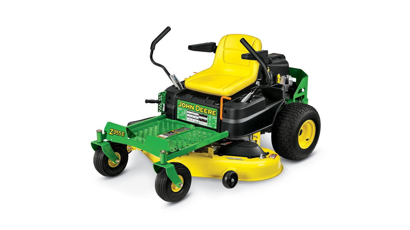 Three-quarter view of Z355E Residential ZTrak Mower