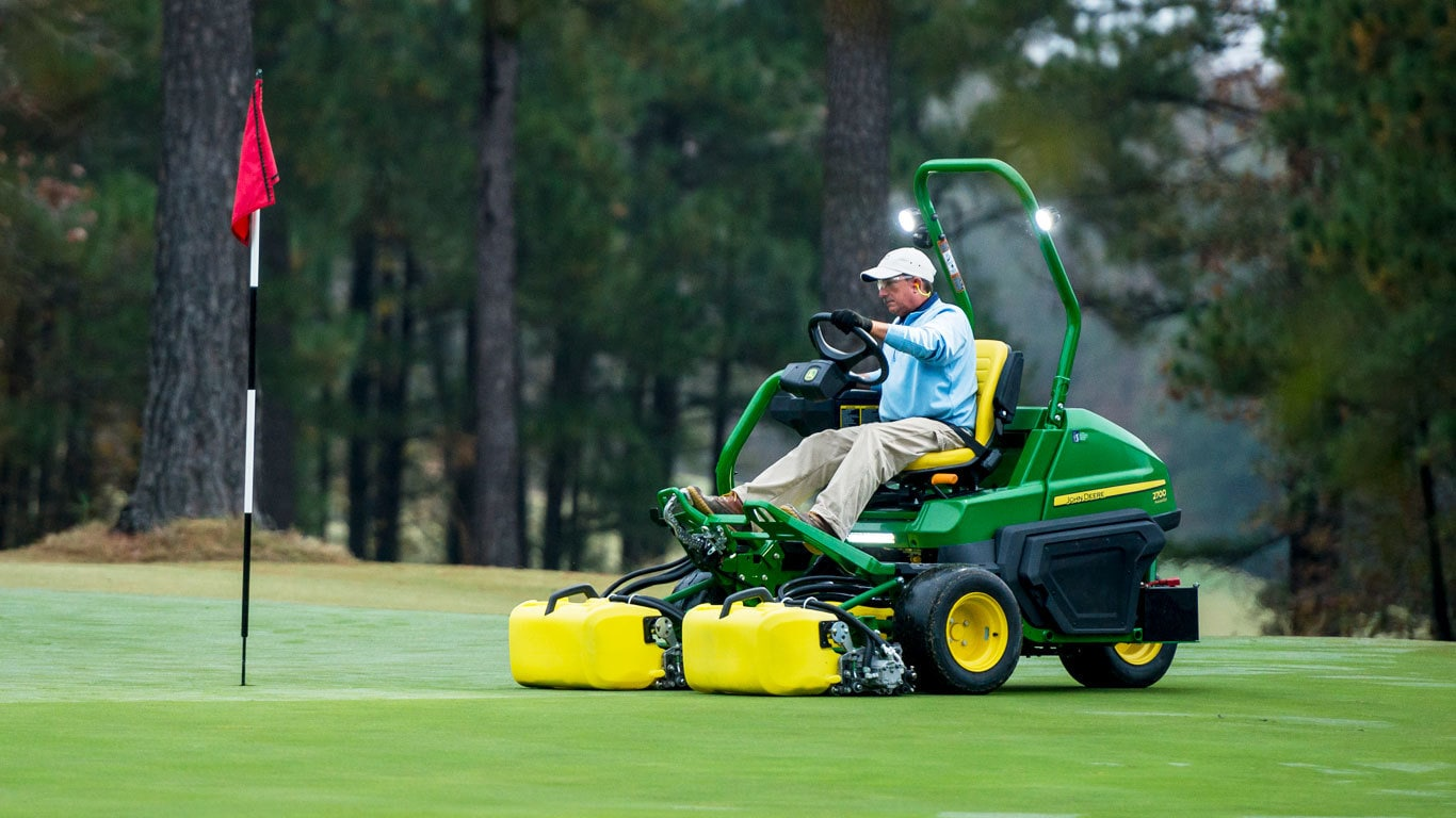 Field image of a 2700 Precision Cut riding greens mowers