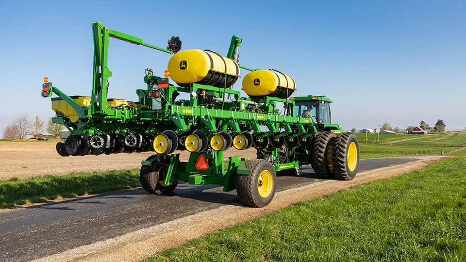 image of tractor moving planter