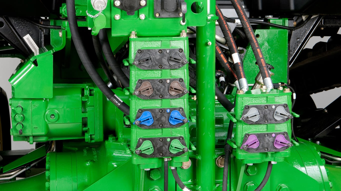 studio image close up of hydraulic system on tractor