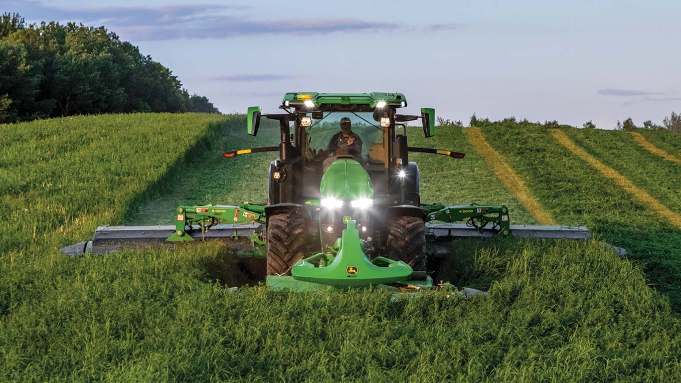 row crop tractor with mower conditioner
