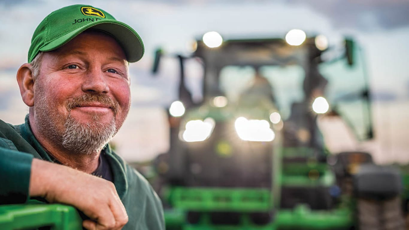 Man with deere hat