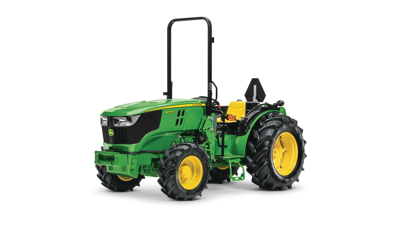 studio image of a 5075GL narrow series tractor