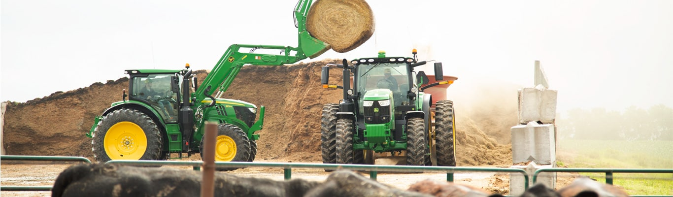 6 series tractor with hay bales