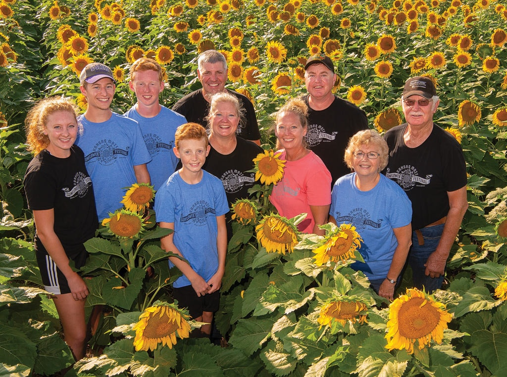 Family in field of sunflowers
