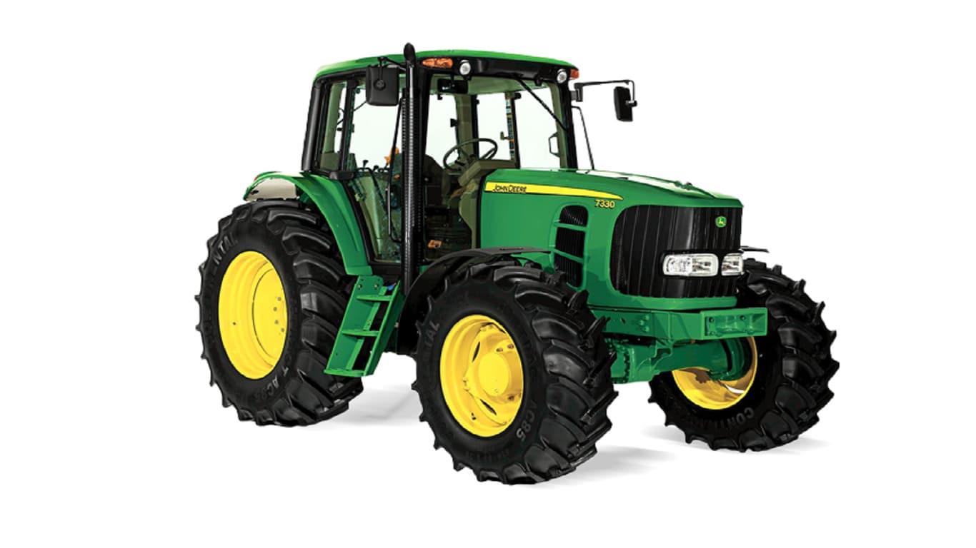 Studio shot of John Deere 7330 Large Tractor