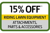 Save 15% Riding Lawn Equipment Parts