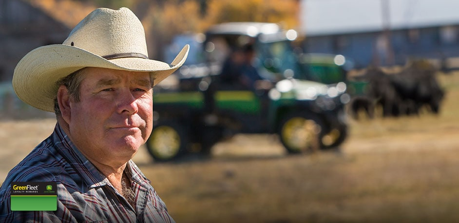 Photo of Cattle Rancher with John Deere Equipment in the background.
