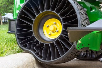Studio photo of the Michelin X TWEEL Turf Airless Radial Tire