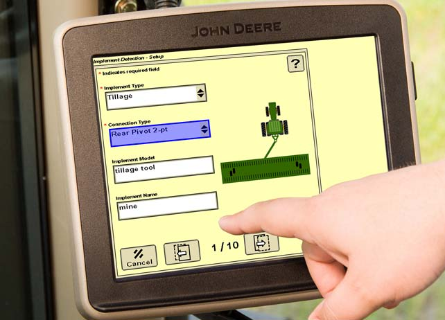 Closeup of the Implement Detection screen on a John Deere display