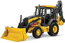 Studio view of the 310SL HL Backhoe Loader