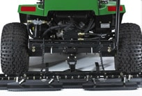 Closeup of the back side of a John Deere bunker rake