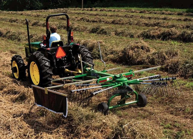 RR10E Series Rotary Rake at work in a hay field