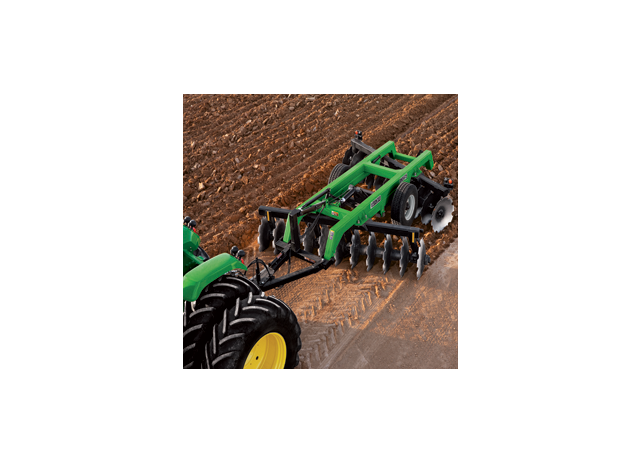 John Deere tractor using DH56 Series Offset Disks to till a field