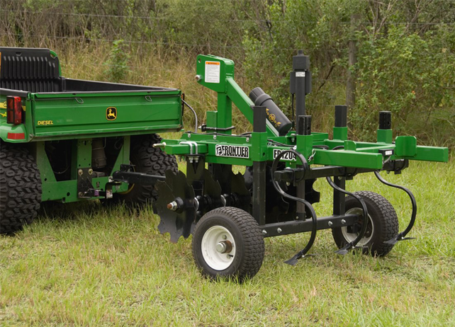 John Deere Gator with MF12P Series Mulch Finisher in a grassy field
