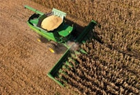 Overhead view of an S-Series Combine harvesting a field