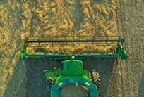 Overhead view of the 600D Draper in action harvesting a field