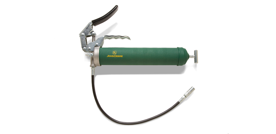 Green pistol-grip grease gun with yellow John Deere logo