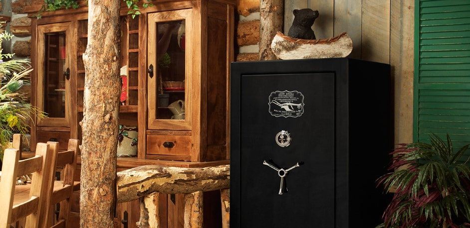 security safe in a log cabin home
