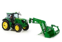 Parked John Deere Utility Tractor separated from its bucket attachment