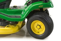 Close-up image of Select Series lawn tractor with back wheels turned to show 4-Wheel Steering