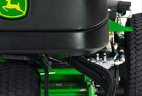 Close-up of the 3WD hydrostatic traction system on the PrecisionCut mower