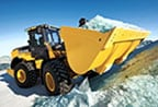 624K wheel loader moving snow