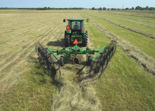 Image of a WR31 Wheel Rake in a field.