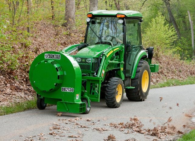 BL21 Series Loader-Mount Hydraulic Debris Blower clears leaves from path