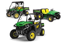 Image of an XUV, an RSX, and a Traditional Series Gator