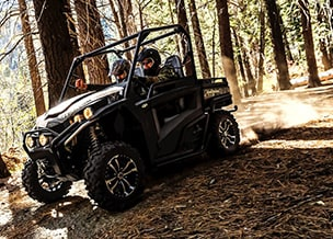 RSX860i high-performance utility vehicle driving through the woods