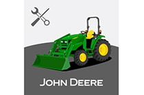 John Deere TractorPlus icon with tractor, John Deere logo and settings icon