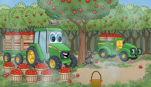 Johnny Tractor and Allie Gator cartoon