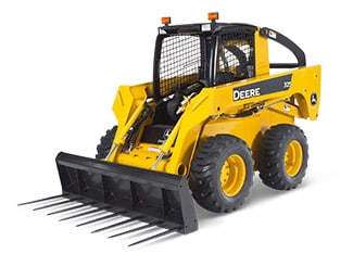 Studio image of John Deere Skid Steer with Ag Fork attachment